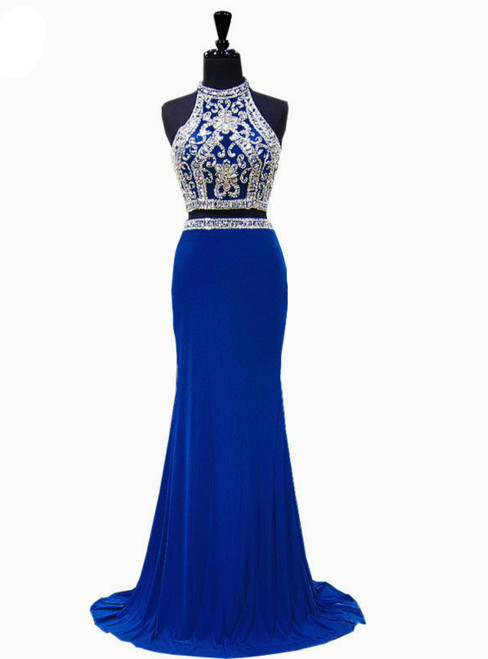Royal Blue Mermaid High Neck Beaded Crystals Floor Length Prom Dress