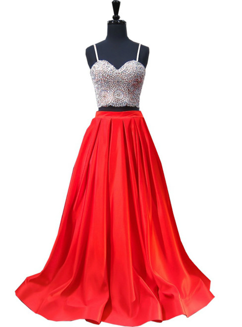 A-line Sweetheart Spaghetti Strap Satin Red Two Piece Prom Dress