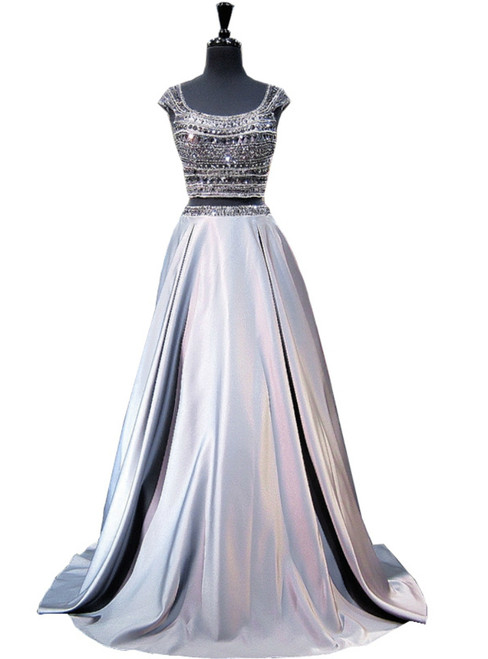 A-line Cap Sleeve Beaded Crystals Grey Backless Two Piece Prom Dresses