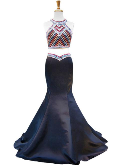 Mermaid Scoop Beaded Backless Black Two Piece Prom Dress