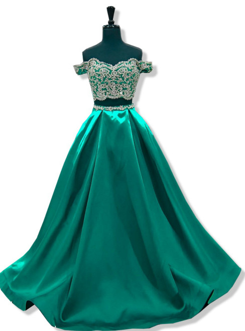 A-line Cap Sleeve Beaded Lace Green Two Piece Prom Dresses