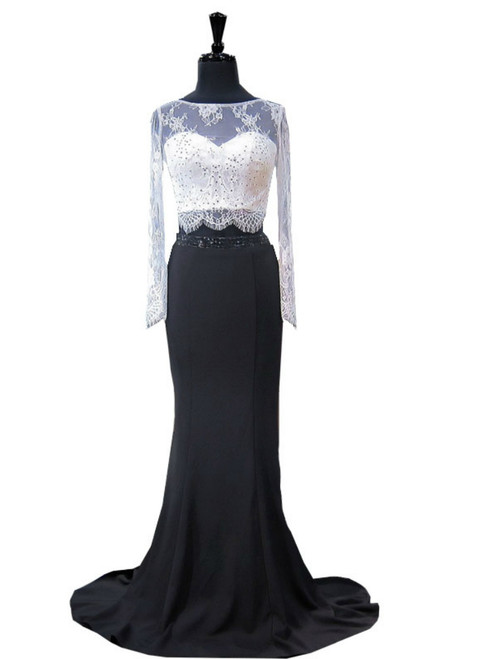 6d8f293cfa38 Mermaid Lace Long Sleeve Black And White Two Piece Prom Dress