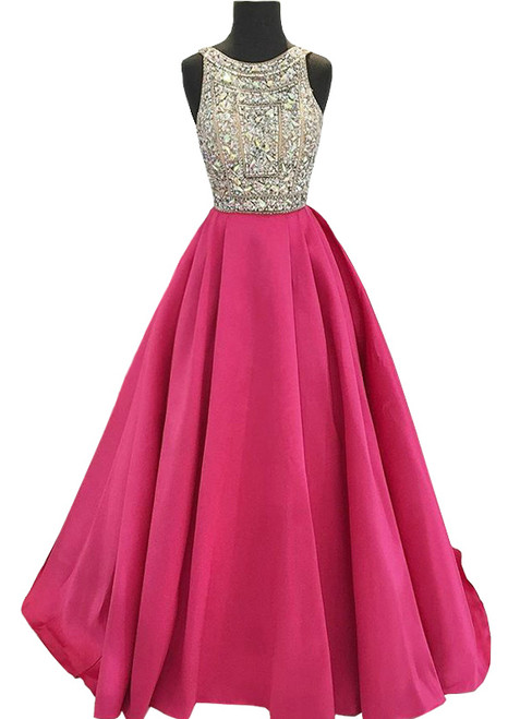 Sparkly Beaded Crystals Hot Pink Satin Backless Prom Dress