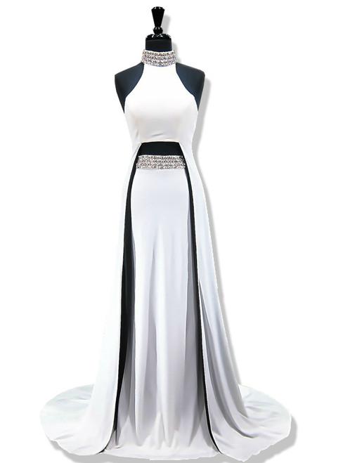 Mermaid High Neck Sleeveless Beaded Crystals White Prom Dress