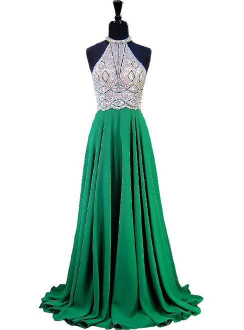 A-line Halter Sleeveless Beaded Floor Length Chiffon Prom Dress