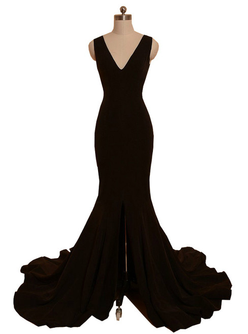 Mermaid V-neck Front Slit Backless Women Black Prom Dress