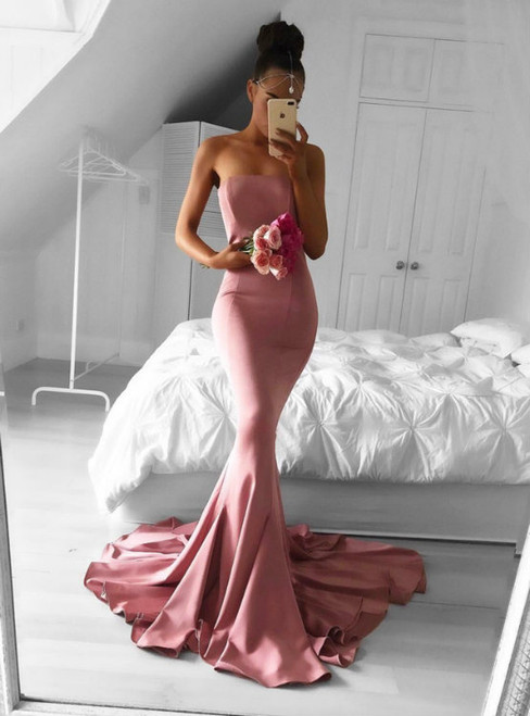 strapless evening dress,simple prom dress