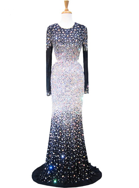 Mermaid Scoop Long Sleeve Beaded Crystals Floor Length Prom Dress