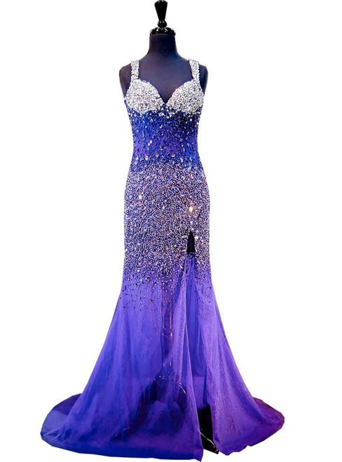 Mermaid Sweetheart Beaded Crystals Backless High Slit Dark Purple Prom Dress