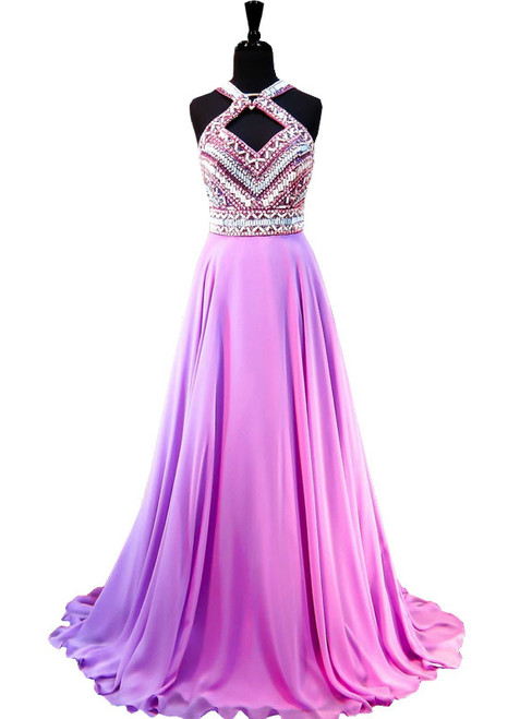 Top Beaded Crystal Light Purple Chiffon Backless Prom Dress