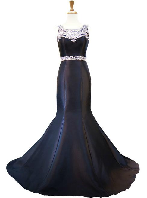 Mermaid Style Crystal Beaded Floor Length Black Prom Dress