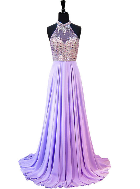 A-line Beaded Crystals Floor Length Backless Lilac Chiffon Prom Dress