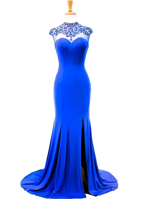 Mermaid High Neck Beaded Back African Royal Blue Prom Dress