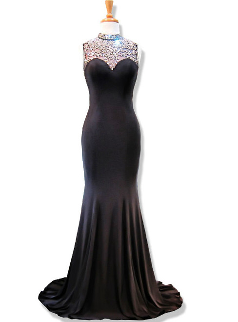 High Neck Beaded Crystals Floor Length Black Mermaid Prom Dress