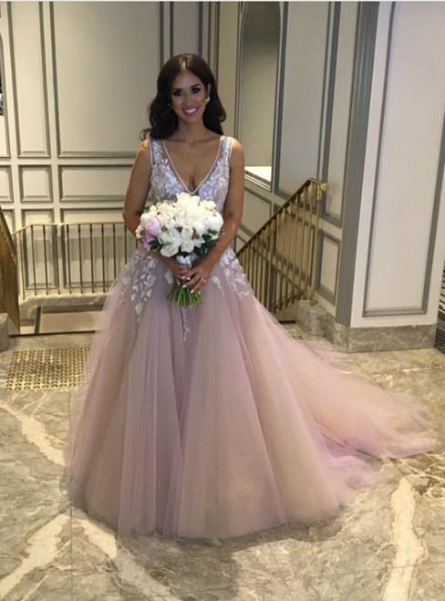 Pink Tulle Deep V-neck Backless Appliques Wedding Dress