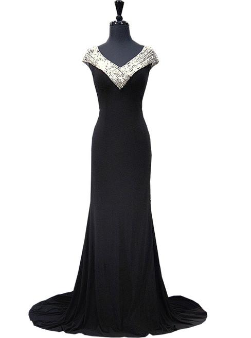 Mermaid Beaded Crystals Floor Length Black Prom Dress