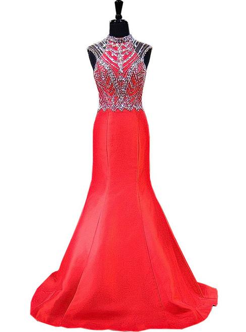 Mermaid High Neck Beaded Crystals Floor Length Backless Prom Dress