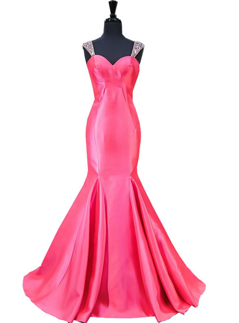 Mermaid Sweetheart Beaded Crystals Backless Hot Pink Prom Dress
