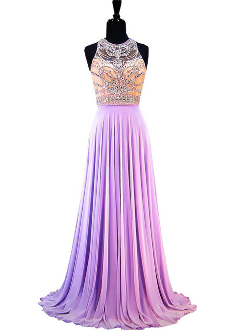 A-line Sleeveless Beaded Crystals Backless Lilac Chiffon Prom Dress