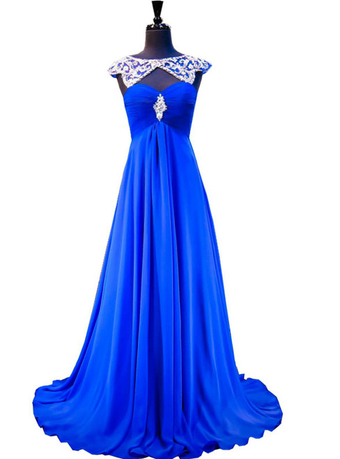 A-line Beaded Crystals Royal Blue Backless Chiffon Prom Dress