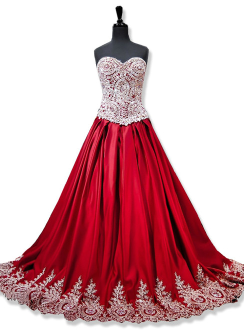 Sweetheart Gold Lace Appliques Ball Gowns Red Prom Dress
