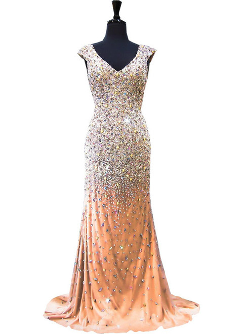 Mermaid V-neck Beaded Crystals Floor Length Champagne Prom Dress
