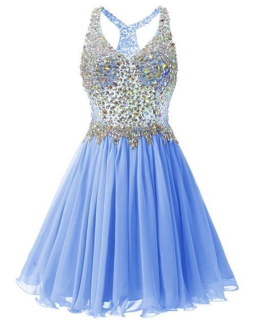 In Stock:Ship in 48 hours Blue Chiffon Crystal Homecoming Dress