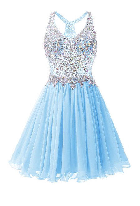 In Stock:Ship in 48 hours Sky Blue Chiffon Crystal Homecoming Dress