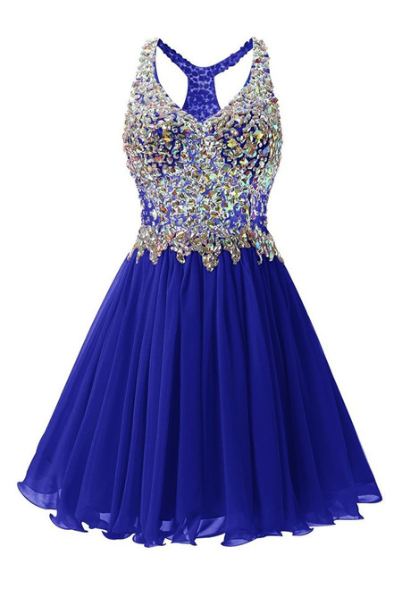 In Stock:Ship in 48 hours Navy Blue Chiffon Crystal Homecoming Dress