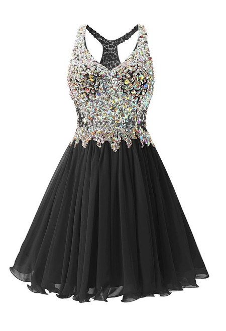 In Stock:Ship in 48 hours Black Chiffon Crystal Homecoming Dress