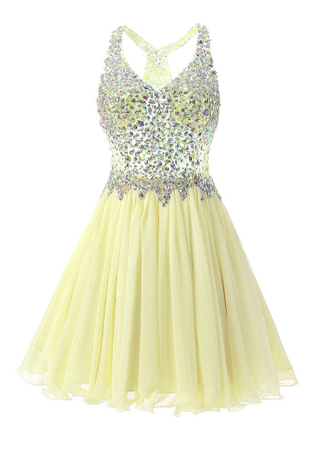 In Stock:Ship in 48 hours Yellow Chiffon Crystal Homecoming Dress