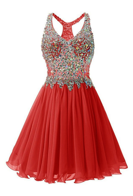 In Stock:Ship in 48 hours Red Chiffon Crystal Homecoming Dress