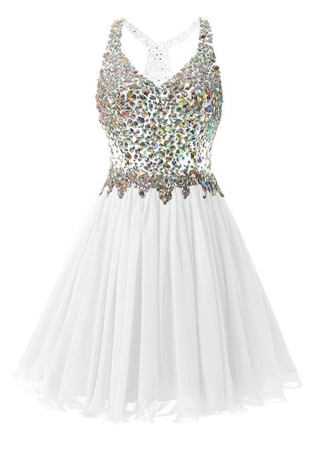 In Stock:Ship in 48 hours White Chiffon Crystal Homecoming Dress