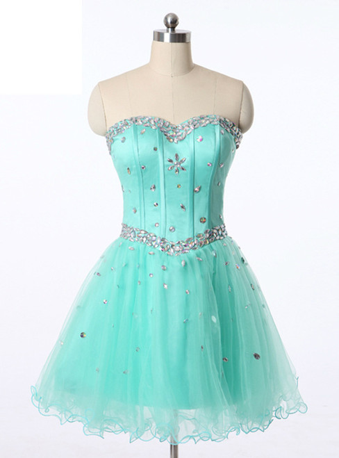 In Stock:Ship in 48 hours Ready To Ship Blue Tulle Homecoming Dress