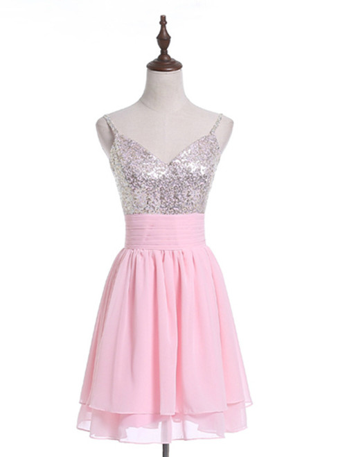 In Stock:Ship in 48 hours Pink Chiffon Sequins Homecoming Dress