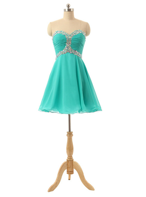 Short Sweetheart Mint Tulle Crystals Homecoming Dresses