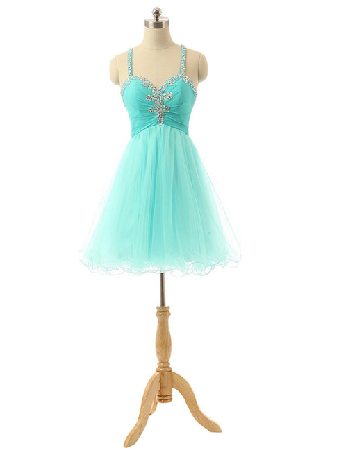 Mint Short Spaghetti Tulle Crystals Homecoming Dresses