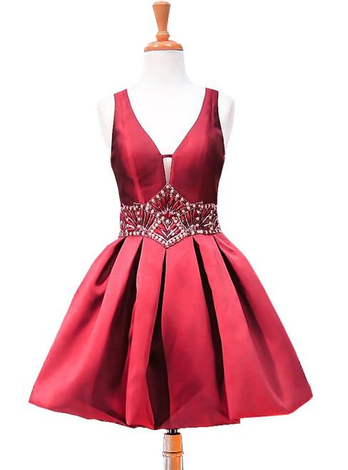 A-line V-neck Sheer Back Beaded Crystals Homecoming Dress