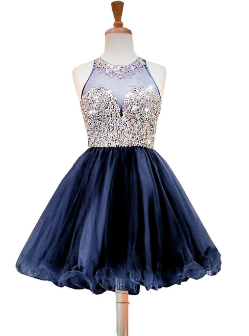 A-line Beaded Crystals Navy Blue Party Homecoming Dress