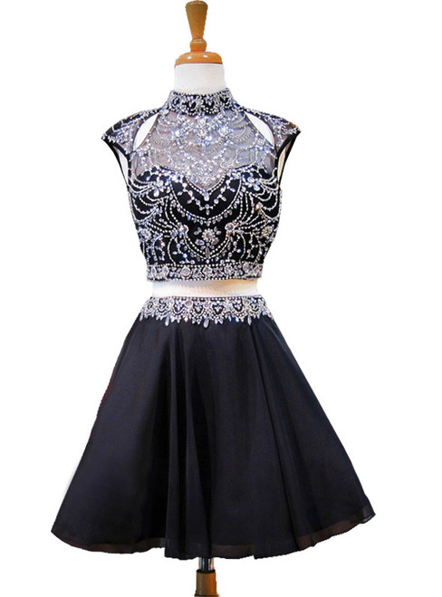 High Neck Beaded Crystals Backless Chiffon Homecoming Dress