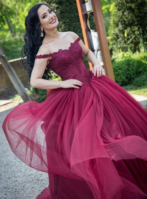 Burgundy Ball Gown Off The Shoulder Tulle Appliques Wedding Dress