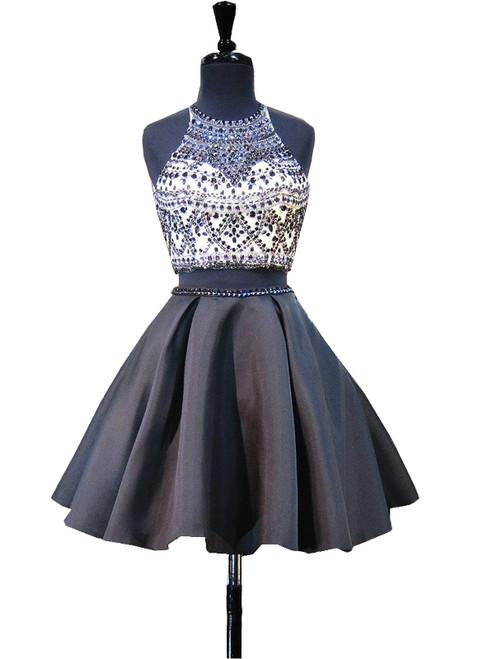 Scoop Neckline Beaded Backless Black Short Homecoming Dress