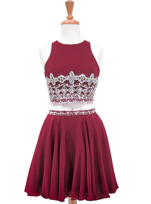 A-line Beaded Crystals Burgundy Chiffon Two Piece Homecoming Dress