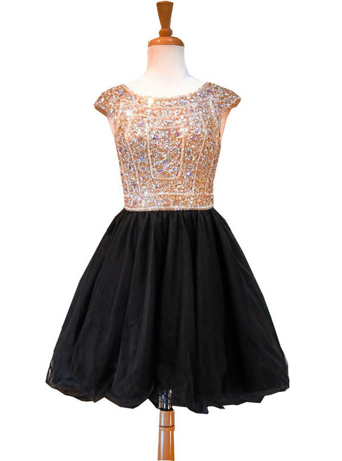 A-line Sleeveless Beaded Crystals Backless Black Homecoming Dresses