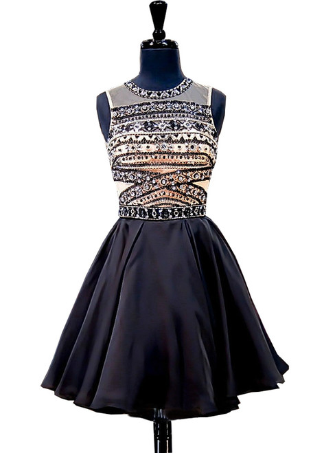 A-line Beaded Crystals Backless Black Short Homecoming Dress