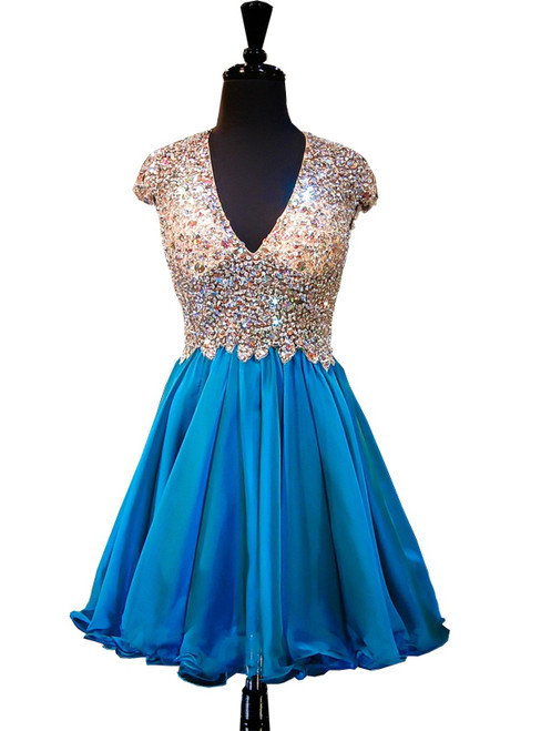 A-line V-neck Beaded Crystals Backless Blue Homecoming Dress