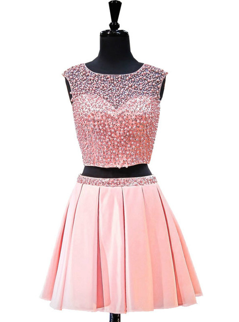 A-line Two Piece Short Pink Backless Short Homecoming Dresses