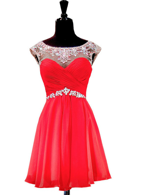 Cap Sleeve Beaded Crystals Backless Red Chiffon Homecoming Dress