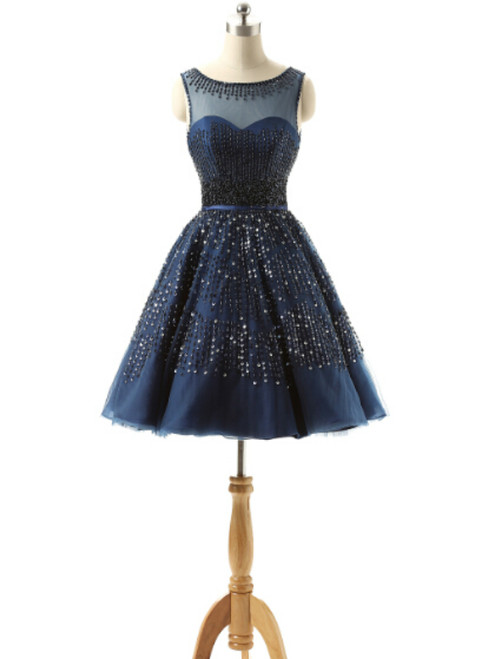 Navy Blue Homecoming Dresses With Beaded Crystal Occasion Dresses