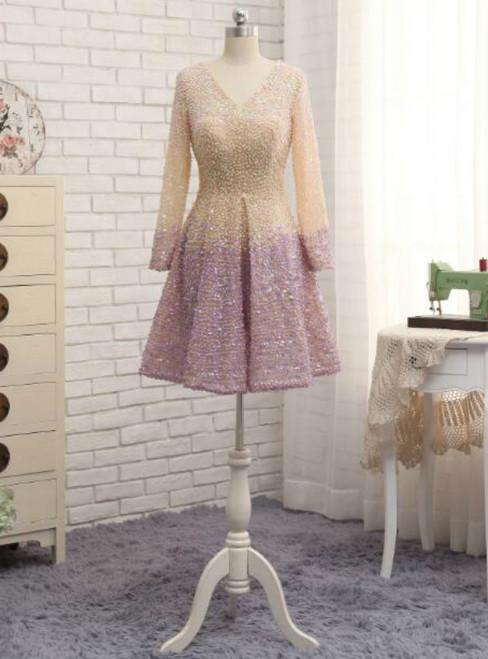 Long Sleeves V Neck Full Beading Knee Length Mother Of the Bride Dress